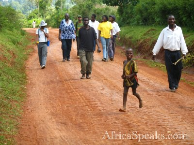 The main road in Shikunga Village, an example of an unpaved road