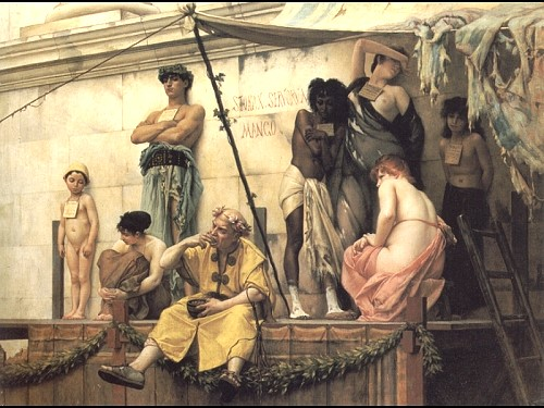 """Painting entitled """"The Slave Market"""" Oil on canvas (Author: Gustave Clarence Rodolphe Boulanger 1824-1888)"""