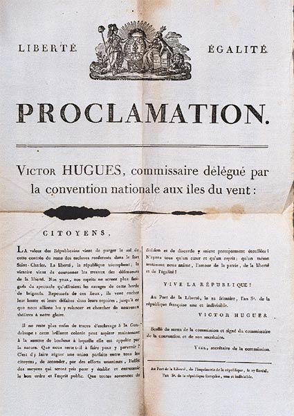 Proclamation of the abolition of slavery by Victor Hughes in the Guadeloupe, the 1st November 1794