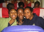 Rayann, Akilah and Charlene en route to England