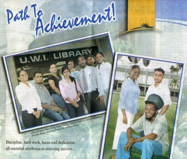 Hi achievers at the University of the West Indies receive scholarships. Newsday TT (newspaper) September 27, 2005
